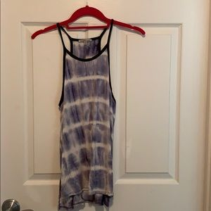 Beautiful tie dyed navy trimmed tank